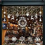 Wokkol Décoration de Noel, Stickers Fenetre Noel Deco Noel Interieur Stickers Noel Vtrine Stickers Reine des Neiges, Amovibles PVC, Rend la Maison Pleine de l'atmosphère de Noël(8 PCS -2 Styles)