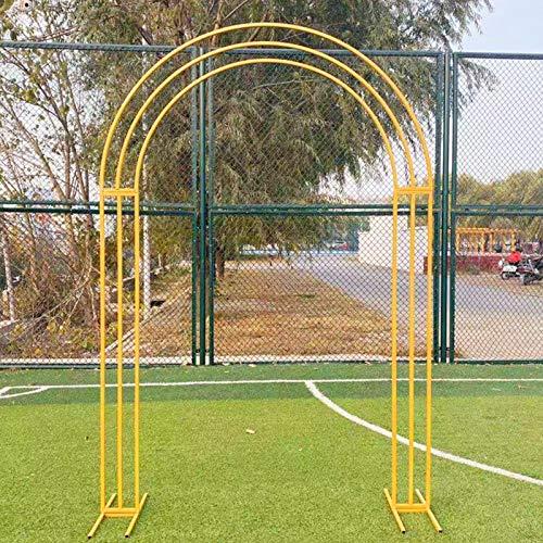 Arco de Globos, 200 Cm X 260 Cm, Arco Jardin de Metal, Arcos de Boda, Arcos de Plantas, Arcos de Rosas (Dorado, Blanco)