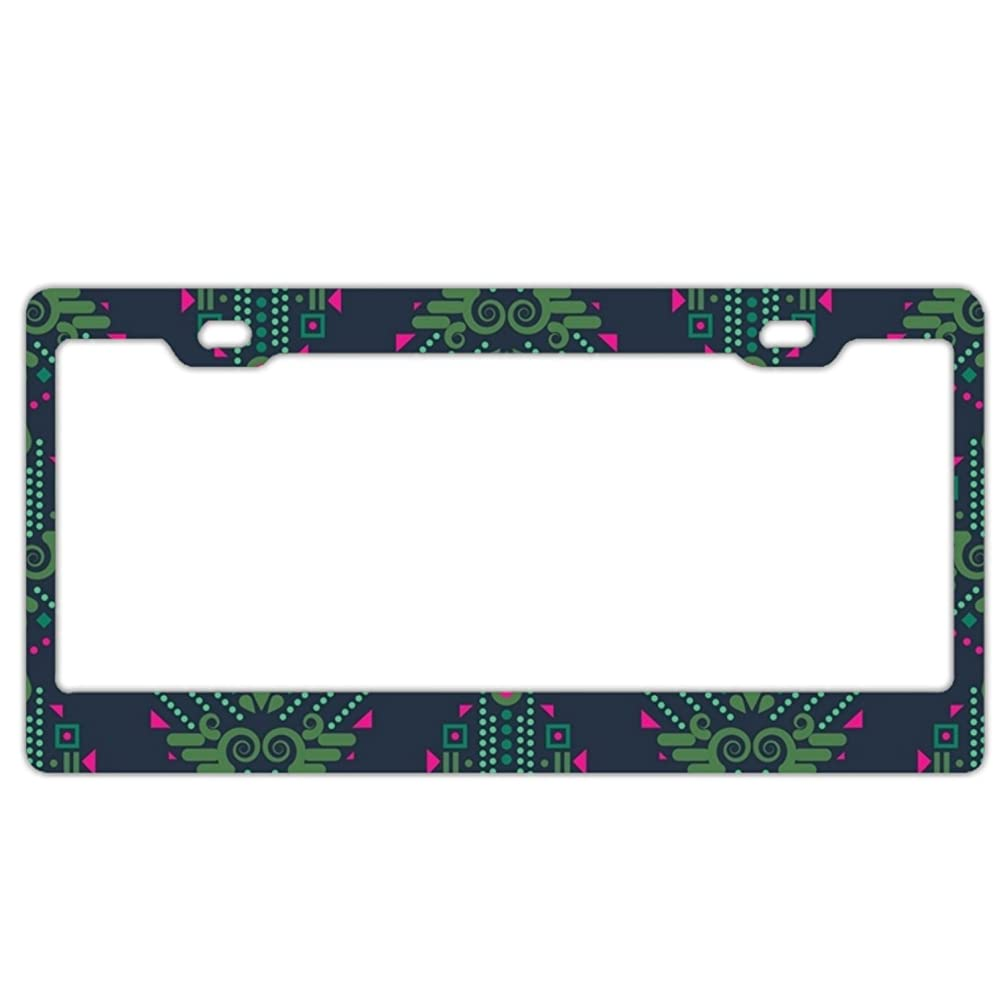 EXMENI Floral Paint License Plate Frame Theft-proof Frames Stainless Steel Board Frames
