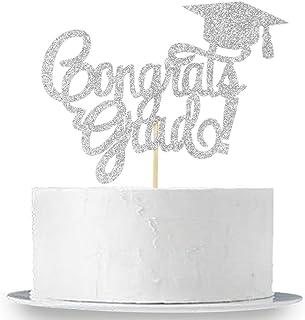 INNORU Congrats Grad Cake Topper - Silver Glitter Class of 2020 Graduate Party Decorations Supplies - High School Graduation, College Graduate Cake Topper