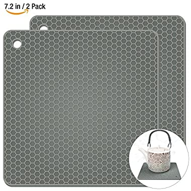 Silicone Pot Holders 2 Pack, Silicone Hot Pads, Heat Insulation Table Mats For Family Use - HB-GJD/Grey/2 Pcs