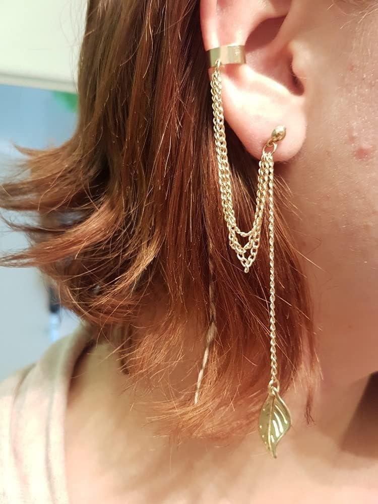 Jiamusi Leaf Chain Tassel Dangle Ear Cuff Wrap Earring, Multi Layered Studs Cuffs Ear Wrap Pin Vine Charm Clip On Jewelry Leaf, Vintage Tassel Ear Cuff Crawler Climber Earring for Women&Girls (Gold)