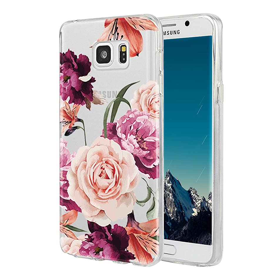 Galaxy Note 5 Case,Samsung Galaxy Note 5 Case with Flower,LUOLNH Slim Shockproof Clear Floral Pattern Soft Flexible TPU Back Cover for Samsung Galaxy Note 5 (Purple)
