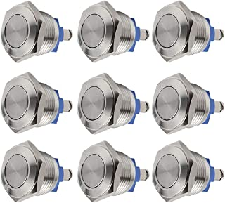 Quentacy 9-Pack 16mm Momentary Push Button Switch 1NO SPST Stainless Steel Waterproof Switch