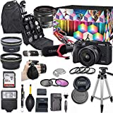 Canon EOS M6 Mark II Mirrorless Digital Camera with 15-45mm Lens Kit (Black) + Wide Angle Lens + 2X Telephoto Lens + Flash + SanDisk 32GB SD Memory Card + Accessory Bundle