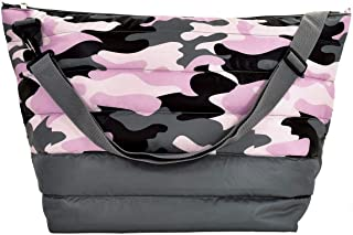 iscream Orchid Dusk Camo Puffer Quilted Weekender Travel Tote Bag with Adjustable Strap