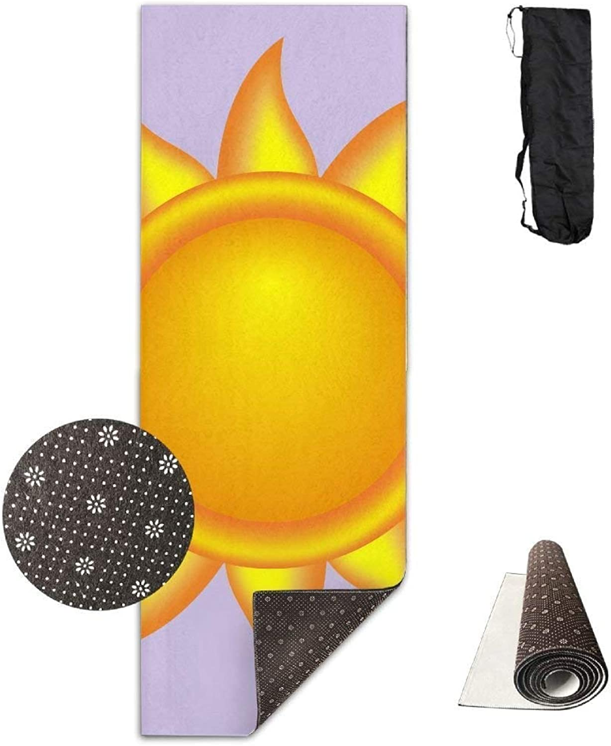 Yoga Mat Non Slip Hot Sun Printed 24 X 71 Inches Premium for Fitness Exercise Pilates with Carrying Strap