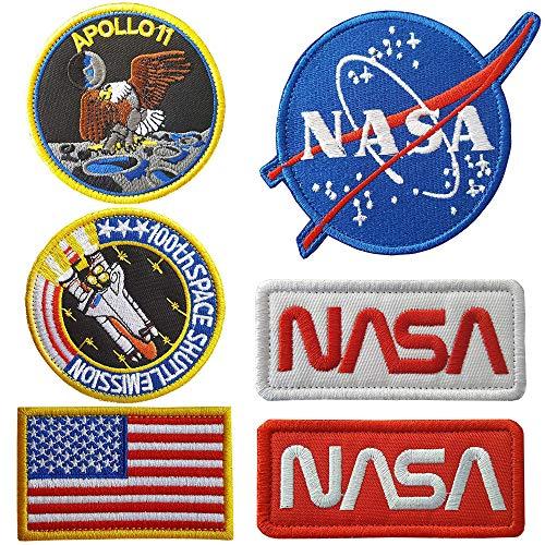 6 Stück NASA Applikation Aufnäher Bestickt, US-Flagge NASA Space Shuttle Pilot Iron für Kleidung Jacke Jeans Cap DIY Applique Bestickt