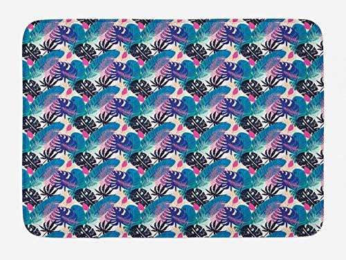 ABAKUHAUS Hawaiano Tapete para Baño, Veraniego Motivos de Hojas exótico, Decorativo de Felpa Estampada con Dorso Antideslizante, 45 cm x 75 cm, Multicolor