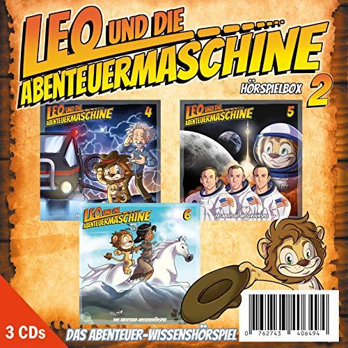 Leo und die Abenteuermaschine Hörspielbox 2 | 3 CDs Bundle | Wissenshörspiel | für schlaue Kids | Albert Einstein | Mondlandung | Indianer
