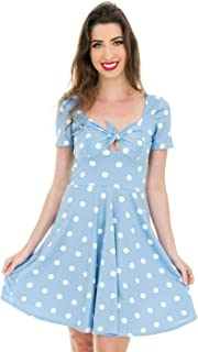Vestido Curto com nó Poá Azul