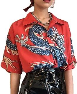 keepmore Camicia a Maniche Corte con Stampa Digitale 3D Unisex Drago Cinese Camicie Larghe Casual Stile Nazionale