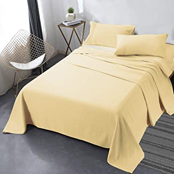 Queen Best Quality Double Brushed Microfiber Sheets Mellow Yellow Light Yellow Harbor /& Hearth Size 4Piece Bed Sheet Set Fade Stain Resistant. - Wrinkle