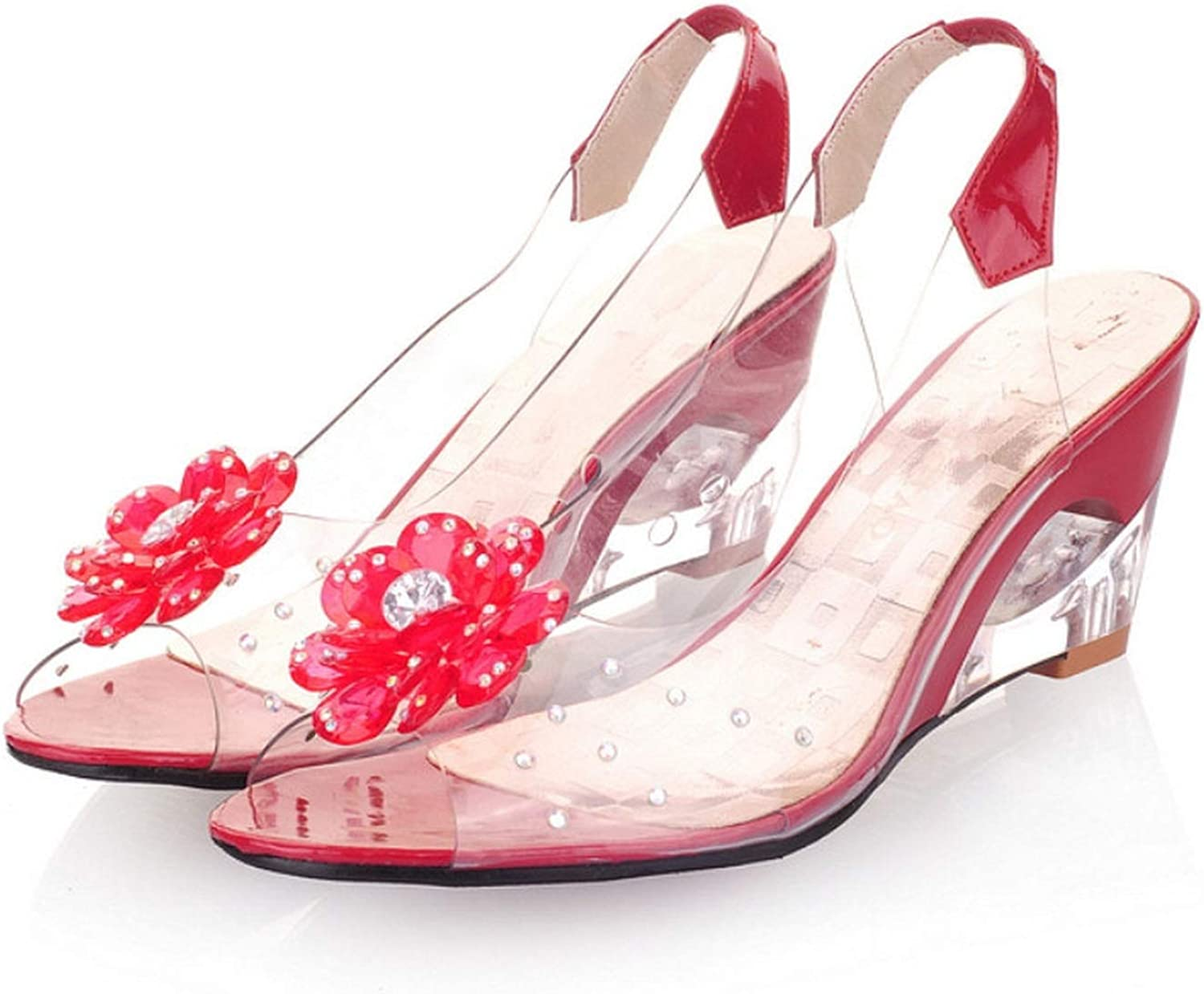 Lonely Store Summer Sandals Women Wedge Crystal Flowers Cutouts Med Heels Patent Leather Sandals Size 30-43