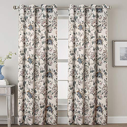 H.VERSAILTEX Blackout Curtains for Bedroom Thermal Insulated Room Darkening Grommet Curtains Panels Drapes for Living Room (Traditional Floral Pattern in Sage and Brown, 2 Panels, 52 by 96-Inch)