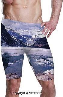 SCOCICI Men's Printed Jammer Quick Dry Swim Shorts Lake Louise Alberta Canada Swimsuit