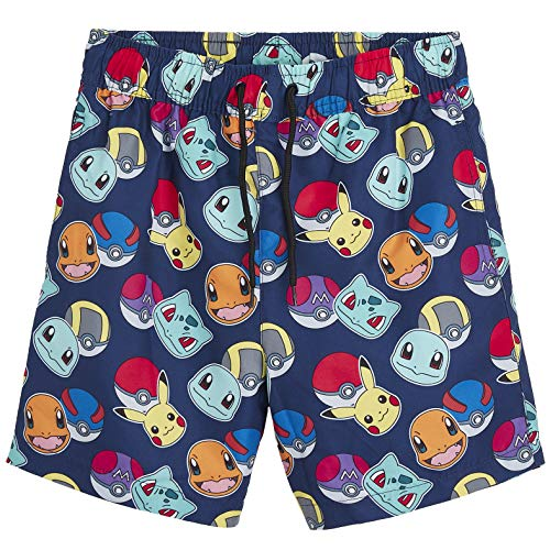 Pokémon Shorts, Badehosen, Badeshorts für Jungen mit Pikachu und Pokeballs, Kinderkleidung für 5-14-Jährige, lässige Freizeitbekleidung (7/8 Jahre)