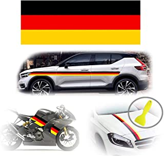 PGONE Length 60-Inch Wide 6-Inch Germany Flag Stripe Car Hood Body Sticker for Audi BMW Mercedes Mini Porsche Exterior Cosmetic, Hood, Roof, Bumpers Decoration