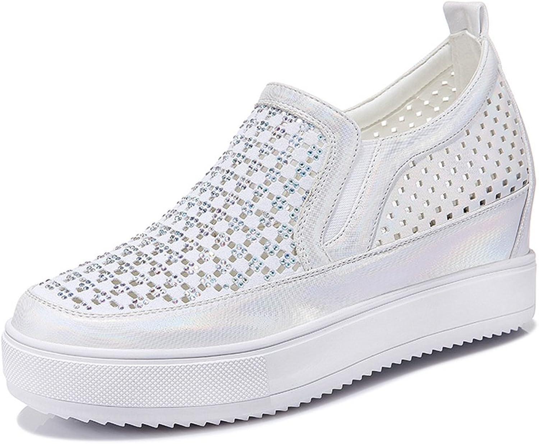 U-MAC Women's Casual Rainstones Breathable Elastic Flat Low Top Loafers Platform Slip on Flat Sneakers