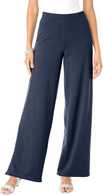 Roamans Women's Plus Size Wide-Leg Ultimate Ponte Pant