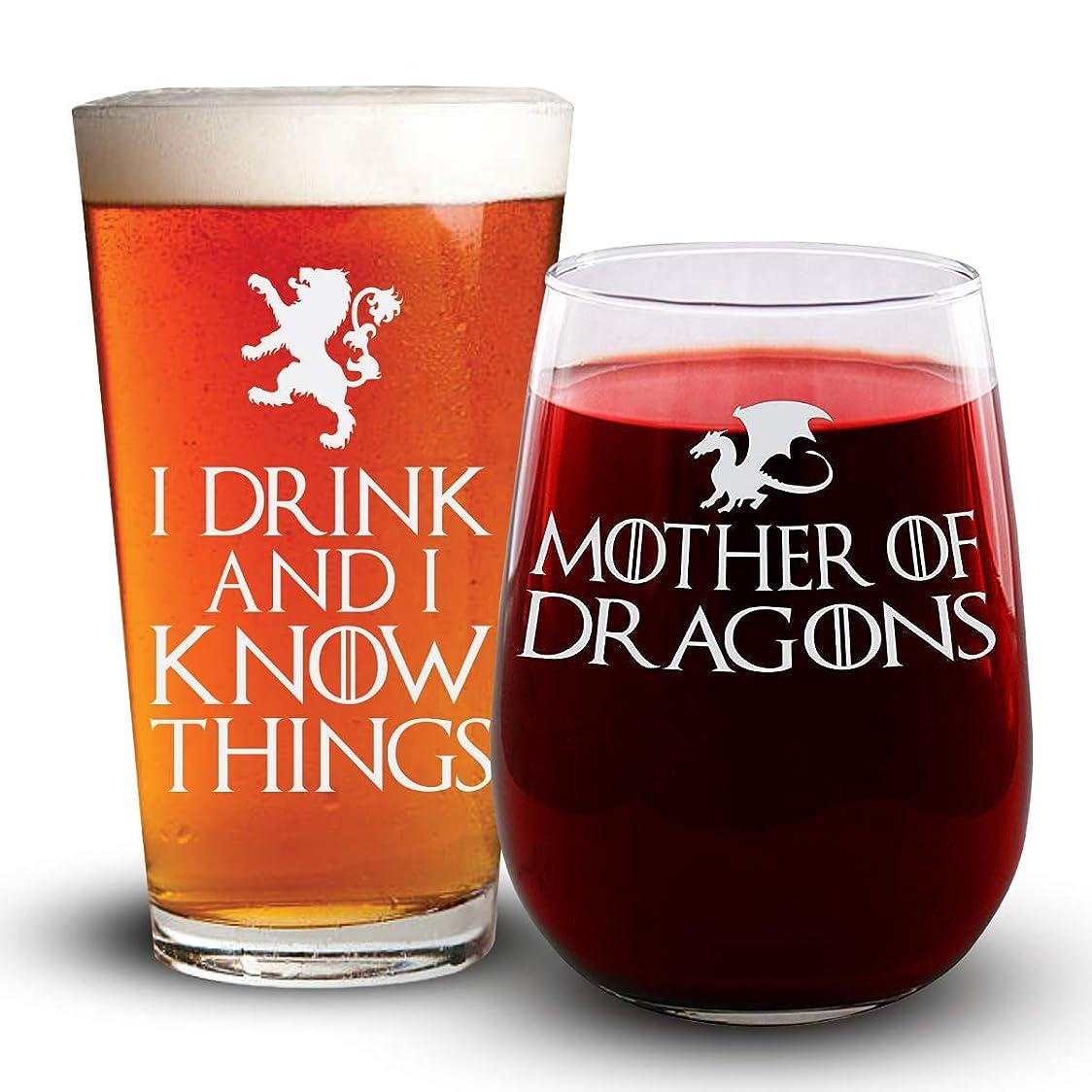 呼び出す奇跡的なアークI Drink & I Know Things/Mother of Dragons ビール&ワイングラスコンボパック – ゲーム?オブ?スローンズにインスパイアされた– 男性と女性のための面白いギフト