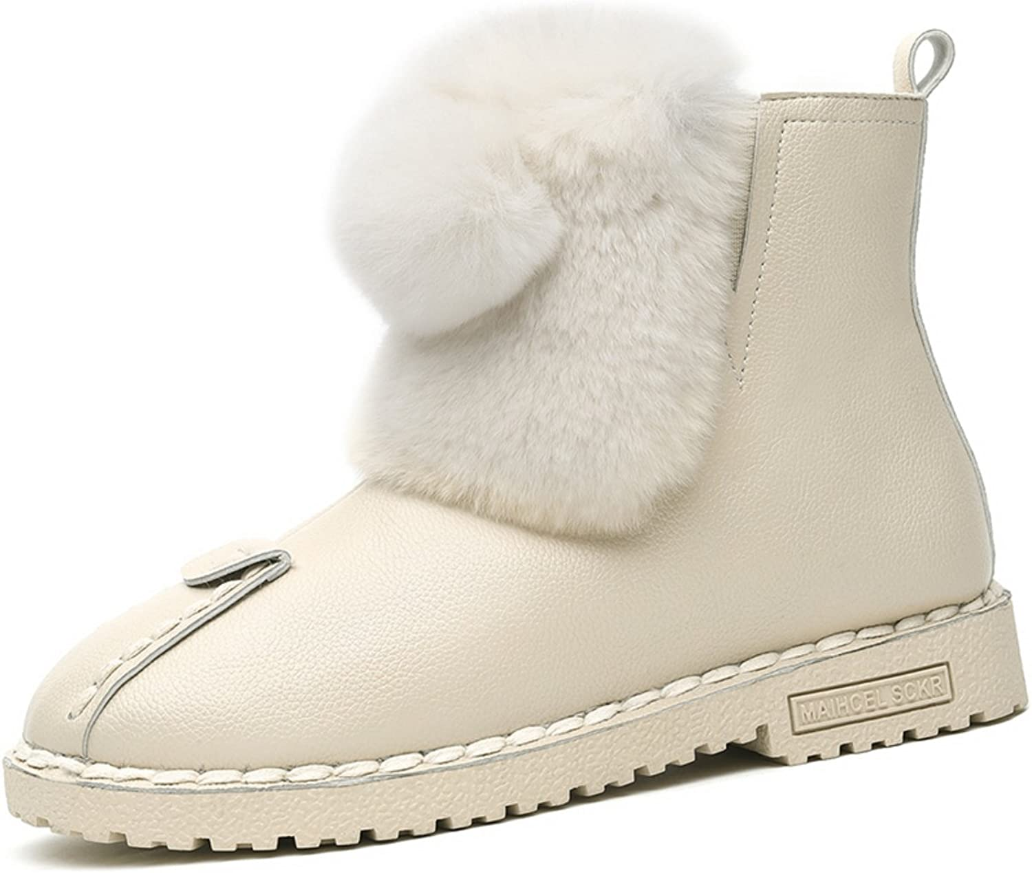 Lusam feeling Women's Flat Sneaker shoes Fur Lined Winter Snow Ankle Boots Booties