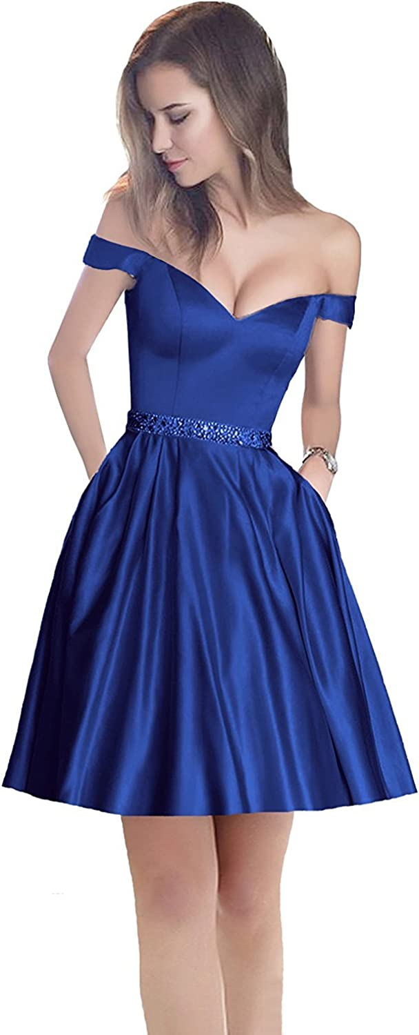 EllieHouse Womens Short Off Shoulder Prom Gown Homecoming Dress H181