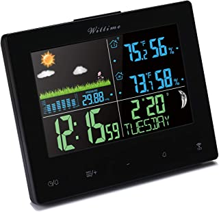 Wittime Home Weather Station, Weather Monitoring Clock with Snooze funcation, Barometric Pressure, Indoor Outdoor Thermometer, Weather Sensor, Room Hygrometer, Alarm Clock, Calendar