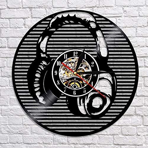 fdgdfgd Reloj de Pared Multicolor 3D Instrumento Musical Auricular Reloj de Pared Reloj de Tiempo de grabación de Vinilo Reloj de Pared de Arte de decoración del hogar | Diseño de Arte único