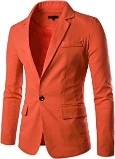 Earlish Men's Slim Fit Blazer Notched Lapel One Button Solid Linen Sport Jacket