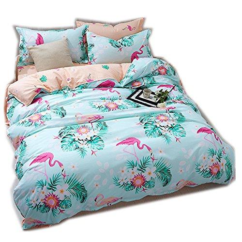 CHAOSE Housse de Couette Parure de lit Flamant Polyester-Coton Bleu Rose Vert Gris (Flamant Fleur, Taille unique-140×200cm)