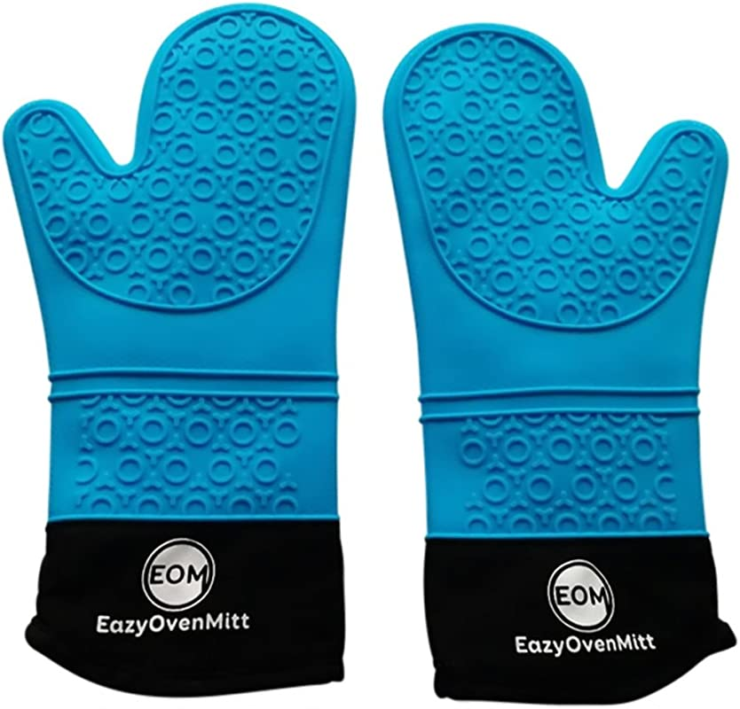 Silicone Oven Mitts Commercial Grade Of Extra Long Cotton Quilted Heat Resistant Kitchen Potholders Gloves 1 Pair EazyOvenMitt Blue