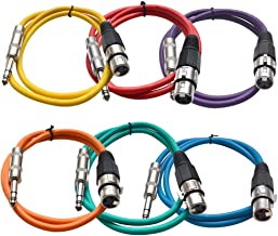 Seismic Audio SATRXL-F3BGORYP 3-Feet XLR Female to 1/4-Inch TRS Patch Cables - Multiple Colors