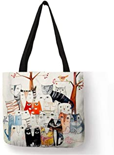 Cute Cartoon Anime Cat Cat Print Linen Tote Bag Female Fashion Handbag School Travel Shopping Shoulder Bag Can Be Reused