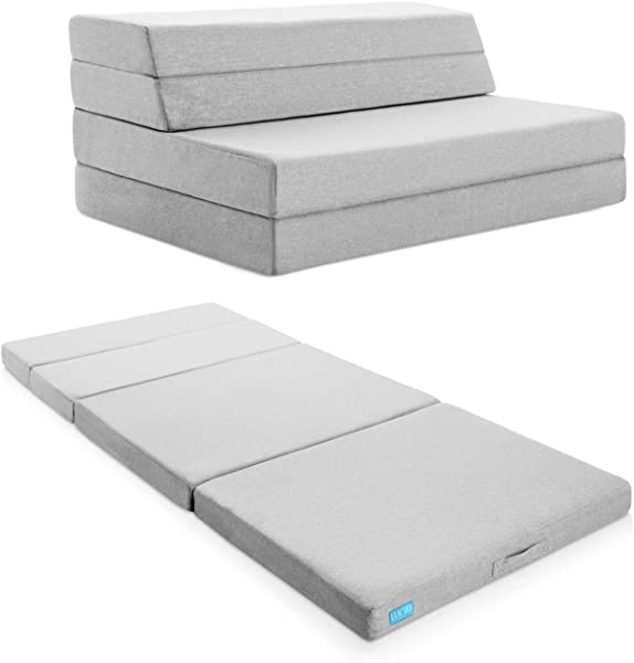 Lucid 4 Folding Mattress Sofa With Removable Indoor Outdoor Fabric Cover Queen
