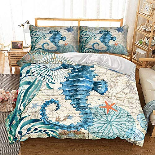 Turtle Bedding Set 3D Printed Blue Turtle Swimming in Ocean Map of World 3 Pieces Duvet Cover Set for Kids,Boys and Girls,1 Duvet Cover 2 Pillowcase