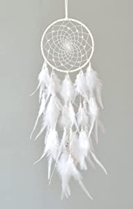 Boho Dream Catcher Handmade Macrame Wall Hanging Dreamcather with Feather Indian Decor for Wedding Party Bedroom Gypsy Wind Bell Decorations(Unreal Web)