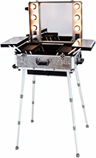 Maylan Makeup Train Stand Case With Pro Studio Artist Trolley And Lights, Silver - Medium