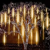Upgraded Warm White Meteor Lights ,EAGWELL 20 inches 10 Tubes 540 LED Meteor Shower Rain Lights Waterproof Cascading Lights Snow Falling LED Lights for Wedding Xmas New Year Party Tree Decoration