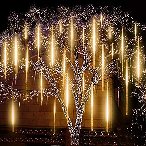 Upgraded Warm White Meteor Lights,EAGWELL 20 inches 10 Tubes 540 LED Meteor Shower Rain Lights Waterproof Cascading Lights Snow Falling LED Lights for Wedding Xmas New Year Party Tree Decoration