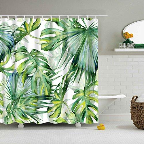 5Größe Polyester Digitaldruck Duschvorhang Badvorhang Blätter Serie Anti-Schimmel Wasserdicht ohne Haken für Heim & Hotel Decor (#3 Blätter, 120*180cm)