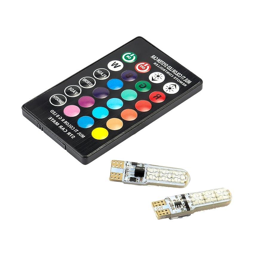 Supercobe Car RGB LED Light T10 12V 5050 6SMD Remote Signal Light Bulb 2PCS Universal