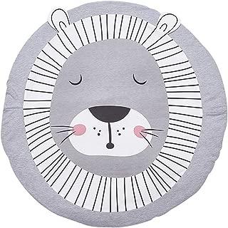 Tapete de juego para niños, tapetes de algodón tapetes unisex redondos con forma de león para bebés, diámetro 90cm, grosor 2cm, gris