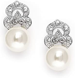 Mariell Cubic Zirconia Crystal Pearl Clip On Drop Wedding Earrings for Women, Vintage Jewelry for Brides