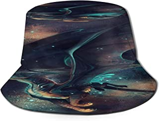 Fisherman Hat Celtic Horned God Moon Goddess Pentacl Bucket Hat Unisex 3D Printed Packable Bonnie Cap UV Protect Lightweight Sun Hat for Picnic Hunting Fishing Golf Hiking