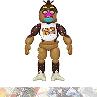 Chocolate Chica: Funko Action Figure Vinyl Figurine Bundle with 1 FNAF Theme Compatible Trading Card (54659)