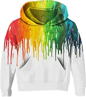 3D Print Kids Pullover Hoodies Casual Hooded Sweatshirts Tops with Pocket for Age5-14 Boys Girls