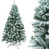 Gotoll Weihnachtsbaum mit Schnee-Effekt, PVC-Blatt Beflockung künstlich Tannenbaum, Christbaum große Schnee Szene Kunsttanne (Weiß, 150 cm mit 328 Spitzen)