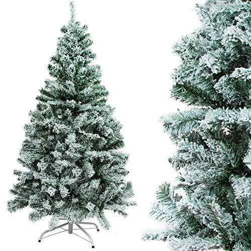 Gotoll Weihnachtsbaum mit Schnee-Effekt, PVC-Blatt Beflockung künstlich Tannenbaum, Christbaum große Schnee Szene Kunsttanne (Weiß, 180 cm mit 508 Spitzen)