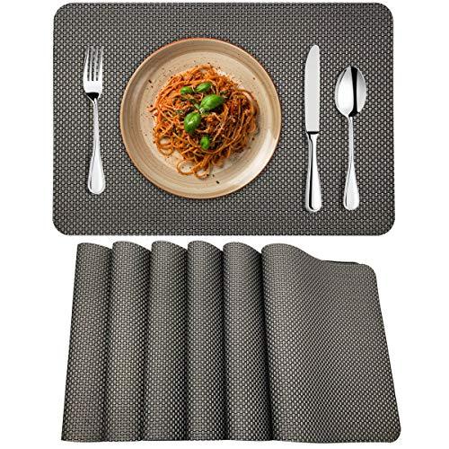 MORROLS Manteles Individuales PVC Antideslizante Lavables Resistentes al Calor para Cocina, Hogar, Restaurante, Mesa de Comedor Fácil de Limpiar y Impermeable (Gris)